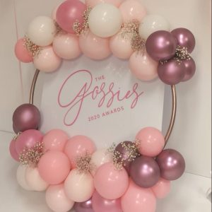 balloon hoop white perspex with pink and mauve balloons