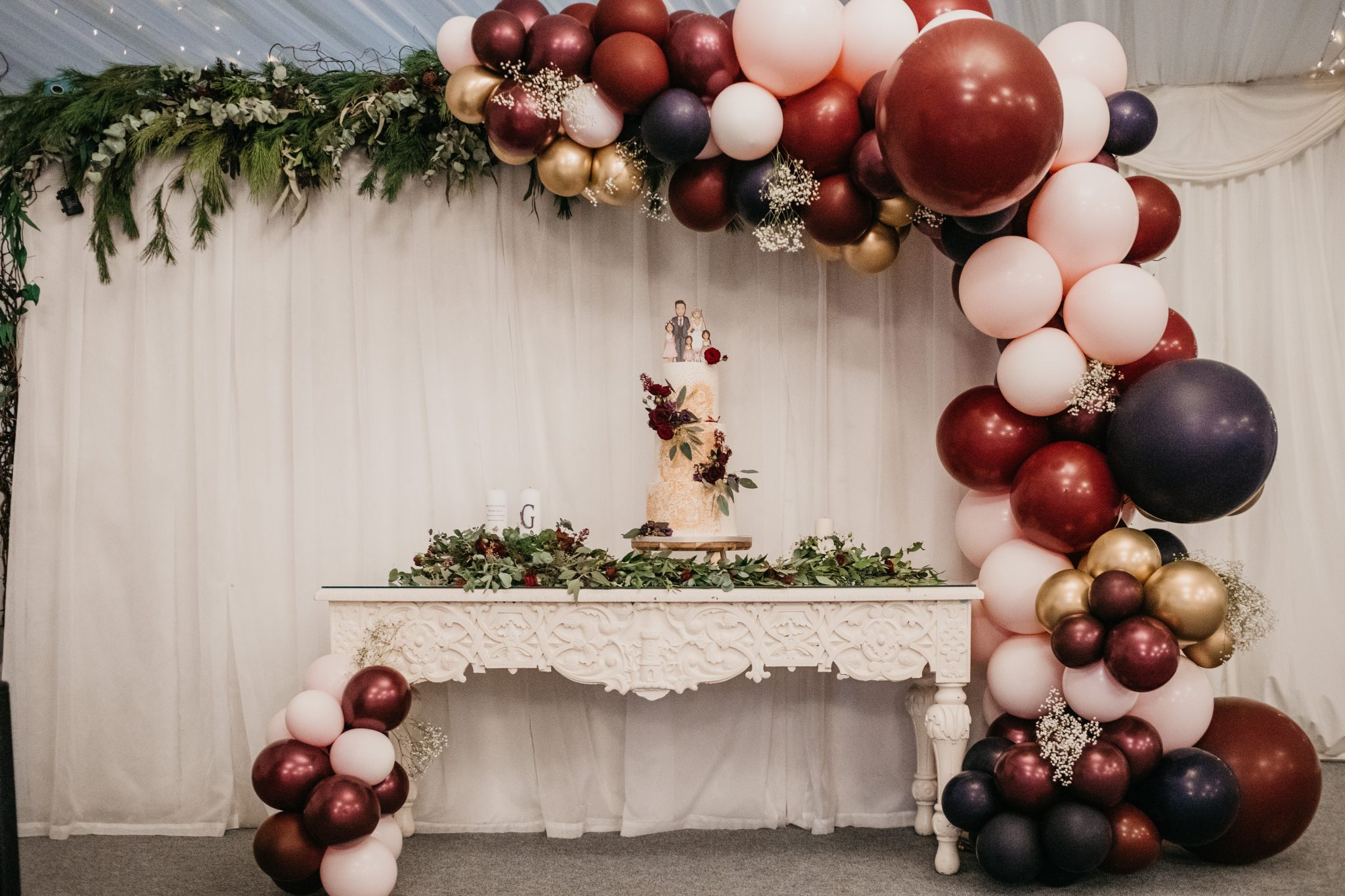 half balloon arch for weddings pink and