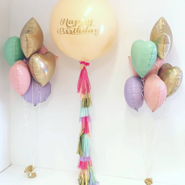 3ft happy birthday full tassel tail and foil bunches
