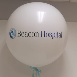3ft white balloon with black and blue text
