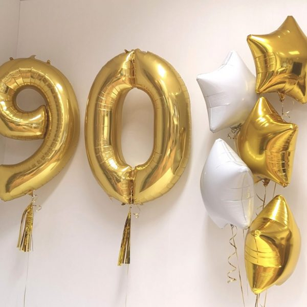 gold 90 balloon and foil star balloons
