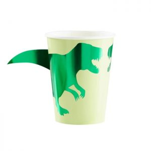 dinosaur cups with 3d tails close