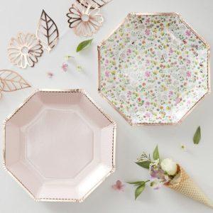 floral blush paper plates