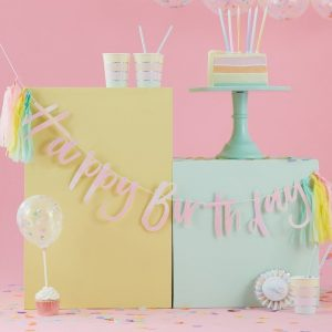 happy birthday bunting pastel