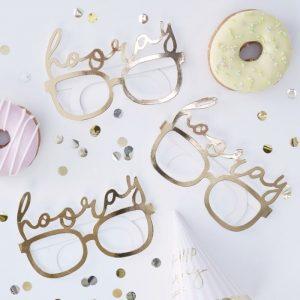 hooray gold fun glasses