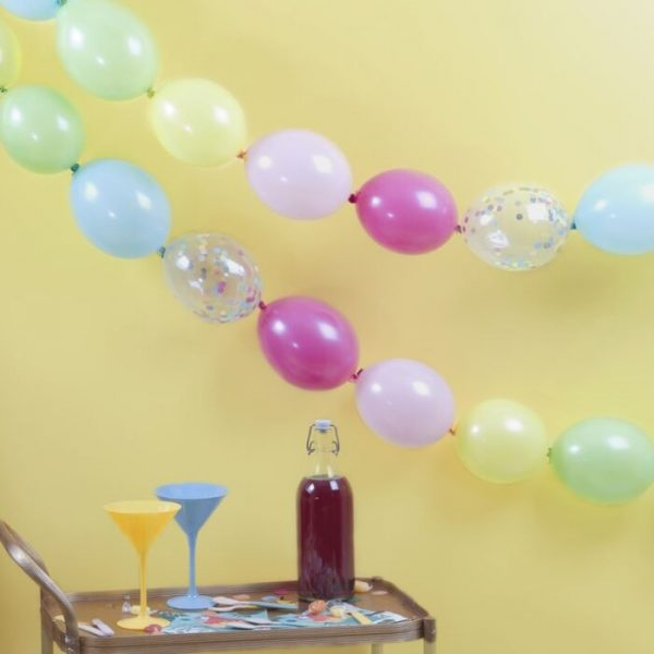 multi coloured balloons and confetti balloons