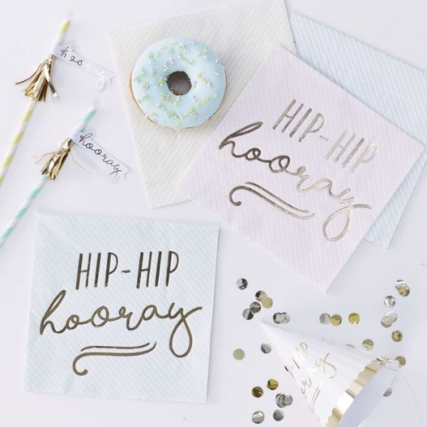 pastel hip hip hooray napkins