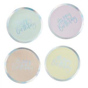 pastel paper plates close