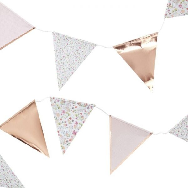 rose gold floral bunting