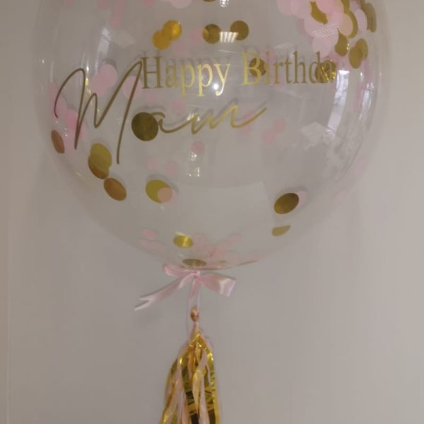 Pink & Gold Bubble Balloon