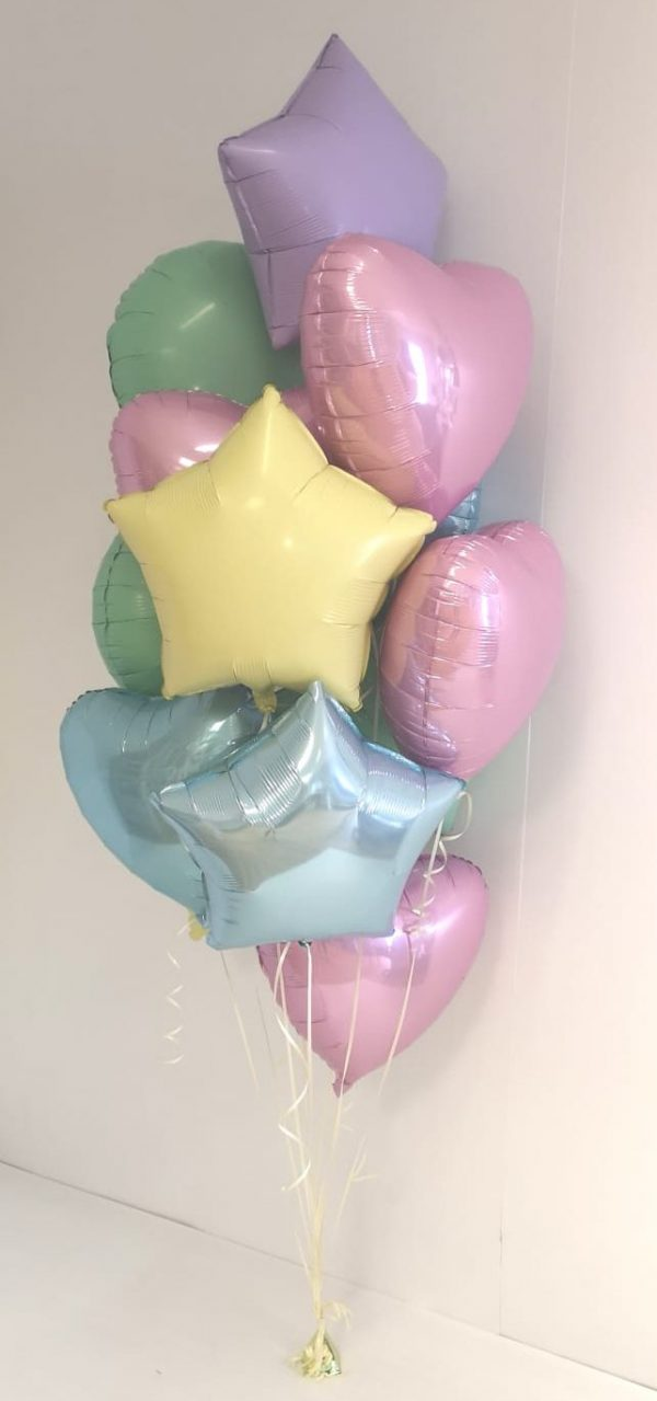 bunch of 12 foil heart shaped pastel balloons