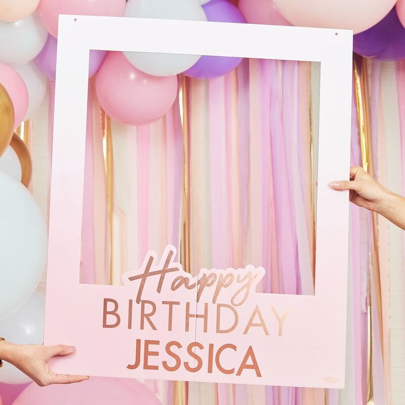 personalised happy birthday selfie photo booth frame