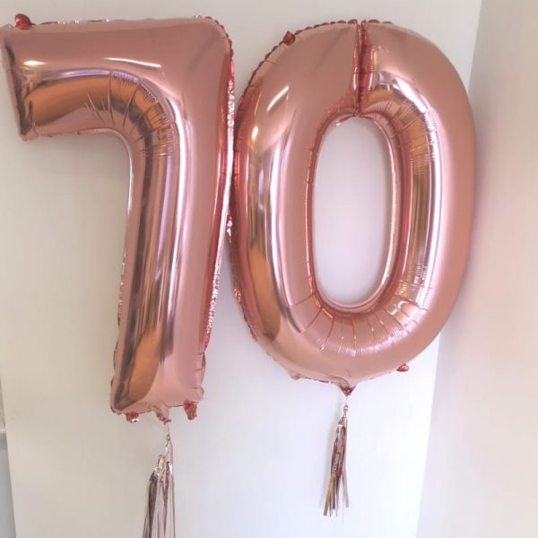 rose gold helium filled number balloon