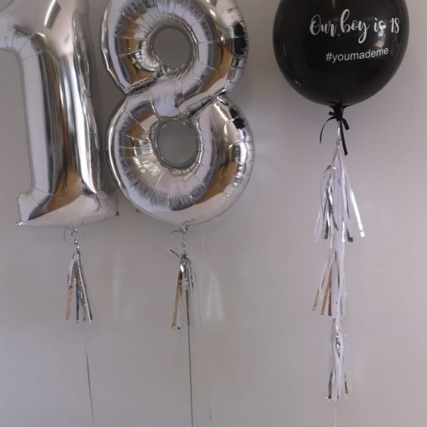 silver helium filled number balloon