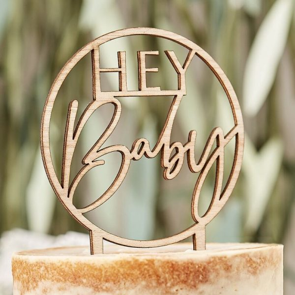 wooden hey baby cake topper