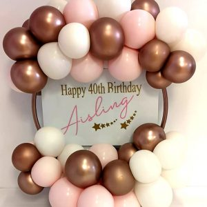 rose gold 40th birthday balloon hoop