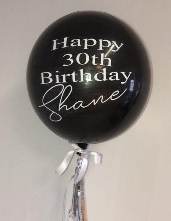 black birthday orbz balloon