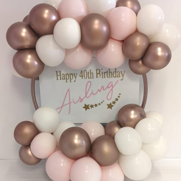 rose gold and pink balloon hoop table topper