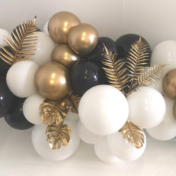 gold and white balloon cluster