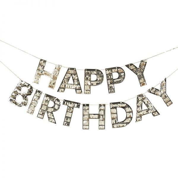 gold fringe happy birthday banner