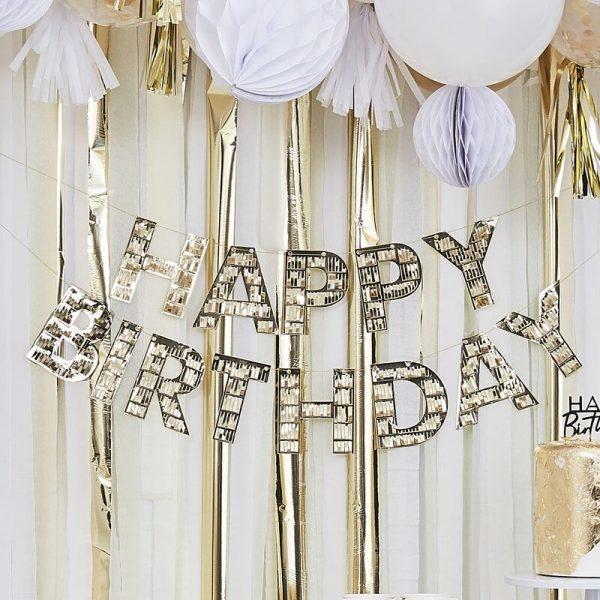 happy birthday bunting gold fringe