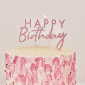 rose gold birthday cake candle