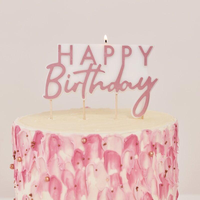 rose gold birthday cake candle