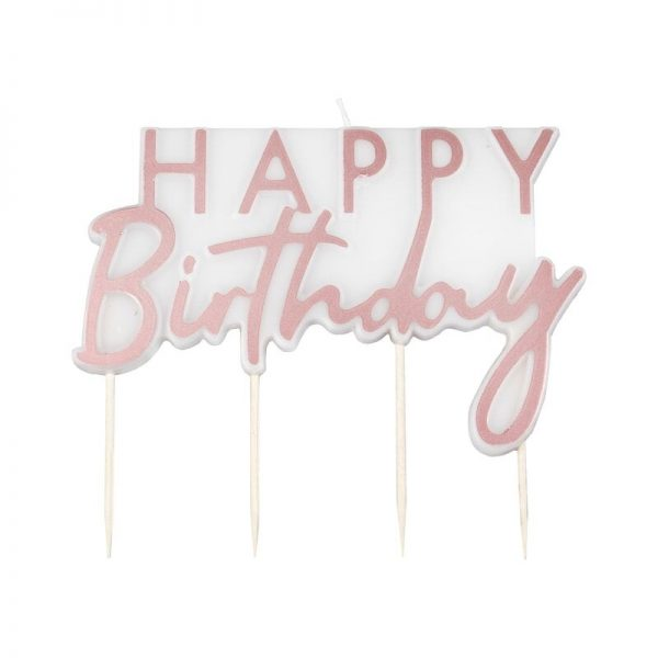 rose gold happy birthday cake candle