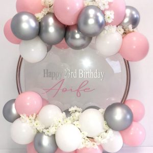 Pink, silver and white balloon hoop