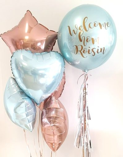 baby blue and rose gold foil balloon bunches and baby blue orb personalised