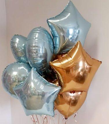 baby blue & gold foil balloon bunch close