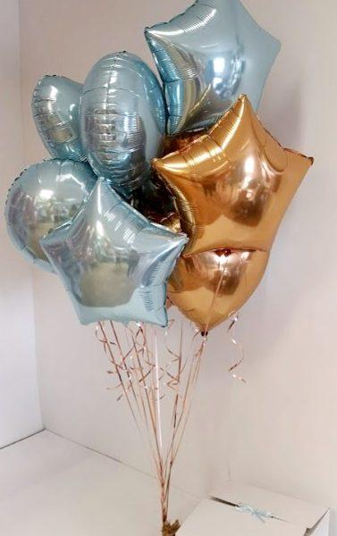 baby blue & gold foil balloon bunch
