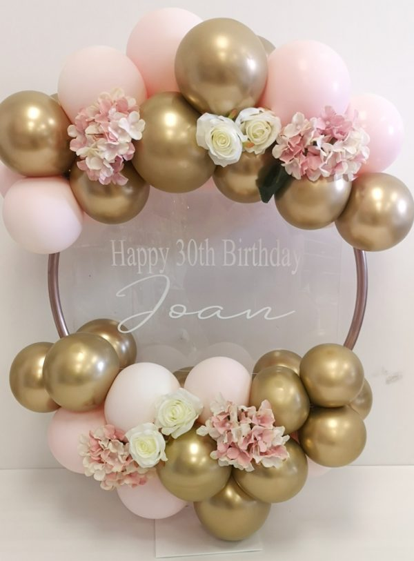 balloon hoop dusty pink and gold