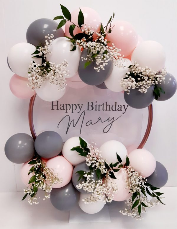 balloon hoop, dusty pink, white and grey balloons