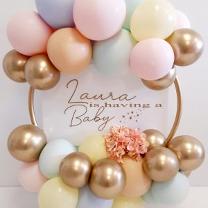 balloon hoop gold, dusty pink, mint, ivory & blush