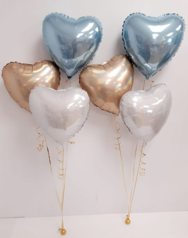 pastel blue, Platinum Champagne, and white foil balloon bunch