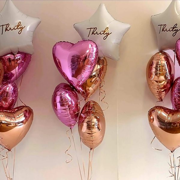 pink, rose gold and white foil balloon bunches