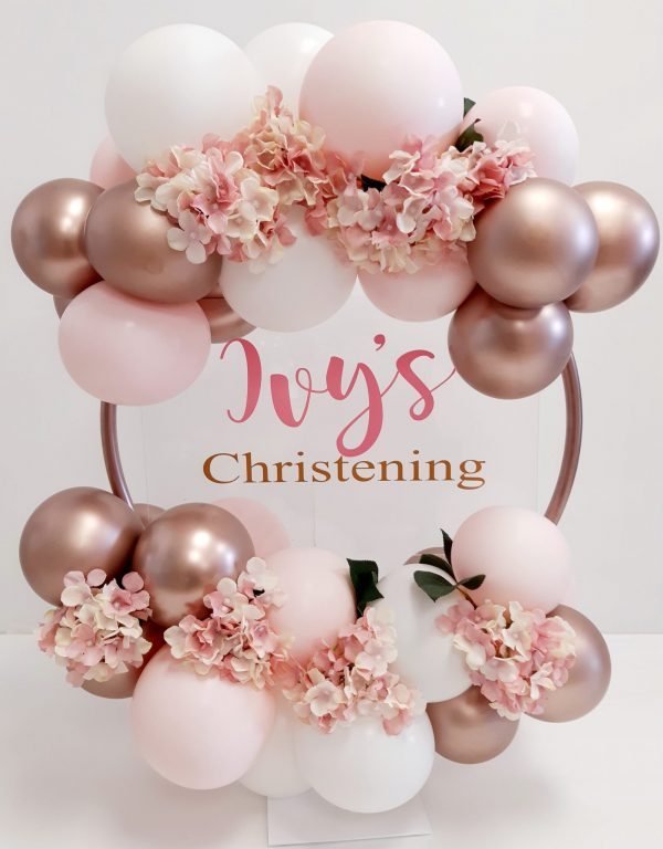 rose gold, pink and white ballon hoop