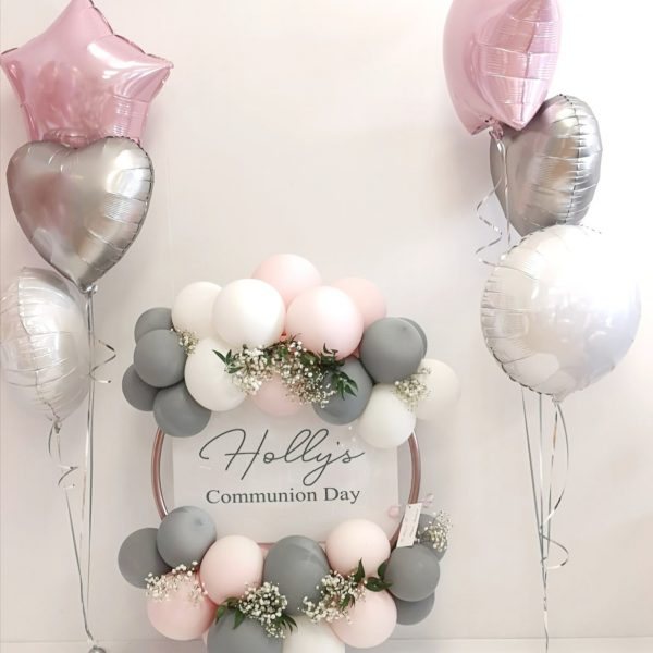 Pastel pink, silver & white balloon bunches