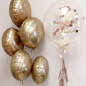 Platinum Champagne balloon bunches