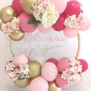balloon hoop gold, light pink, rose, wild berry balloons