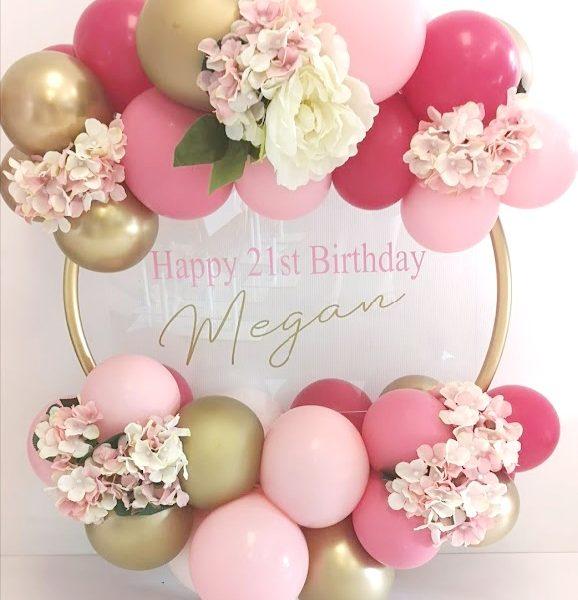 balloon hoop gold, light pink, rose, wild berry balloons
