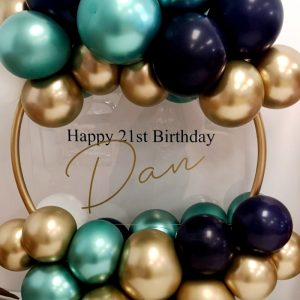 chrome green and gold and navy balloon hoop no flowers
