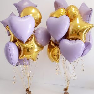 foil balloon bunches gold and lilac