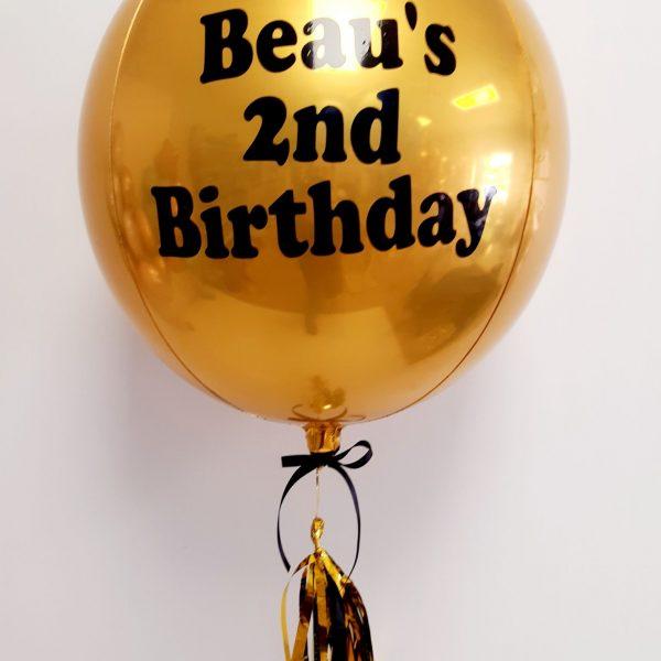 gold happy birthday orb balloon
