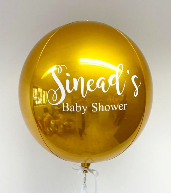 gold orb balloon personalised
