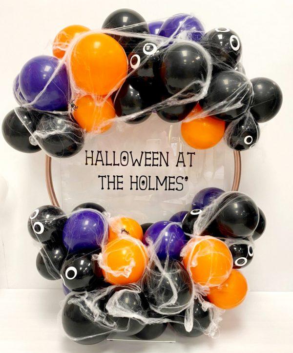 halloween ballon hoop with spider webs