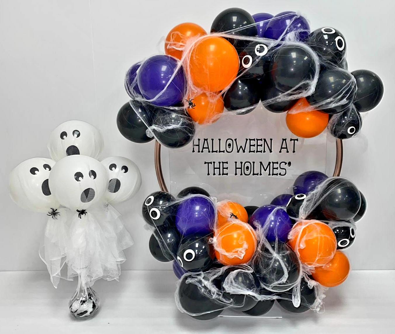 halloween balloon hoop and ghost balloon wands
