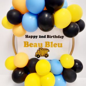 light blue, yellow, and black balloon hoop