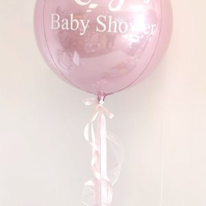light pink orb balloon baby shower
